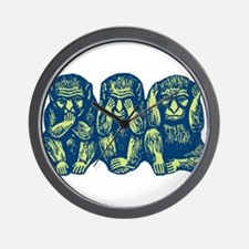 See Hear Speak No Evil Monkey Wall Clock