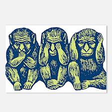 See Hear Speak No Evil Monkey Postcards (Package o