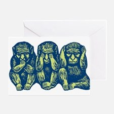 See Hear Speak No Evil Monkey Greeting Card