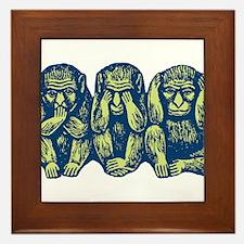 See Hear Speak No Evil Monkey Framed Tile