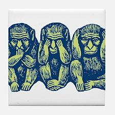 See Hear Speak No Evil Monkey Tile Coaster