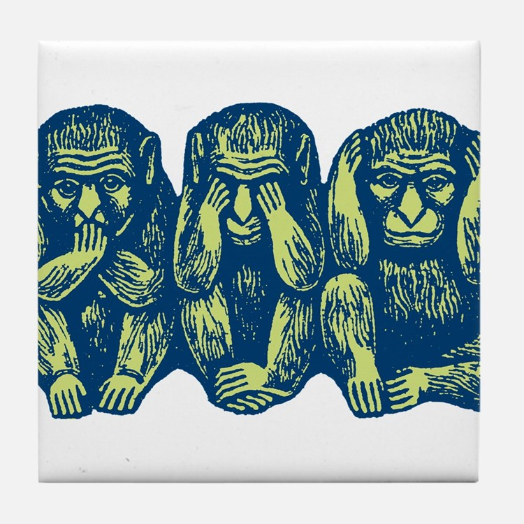 See Hear Speak No Evil Monkey Tile Coaster
