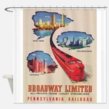 Broadway Limited Train Vintage Post Shower Curtain