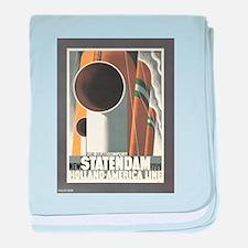 Vintage poster - Statendam baby blanket
