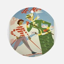 Vintage poster - St. Moritz Round Ornament