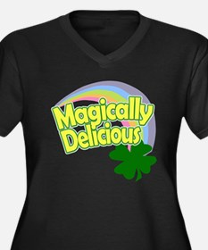 Cute Magically delicious Women's Plus Size V-Neck Dark T-Shirt
