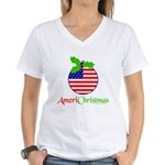 AMERICHRISTMAS Women's V-Neck T-Shirt