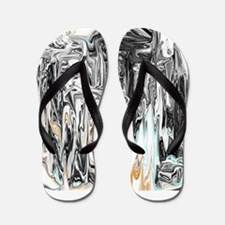 Chrome People Abstract Design Flip Flops