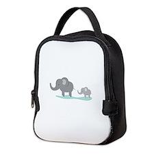Elephant And Cub Neoprene Lunch Bag