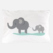 Elephant And Cub Pillow Case