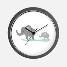 Elephant And Cub Wall Clock