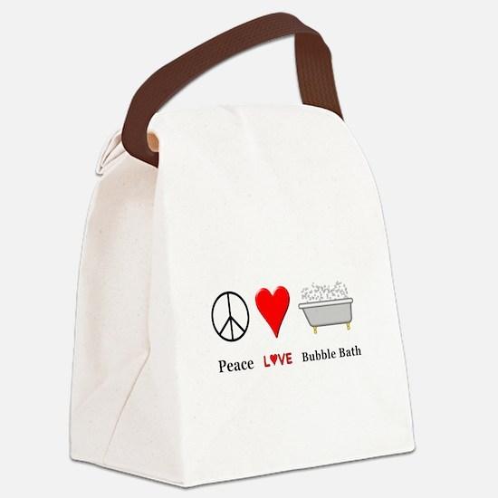 Peace Love Bubble Bath Canvas Lunch Bag