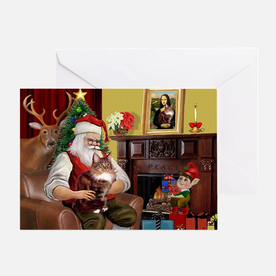 Santa's Maine Coon Greeting Card
