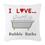 Love Bubble Baths Woven Throw Pillow