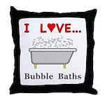 Love Bubble Baths Throw Pillow