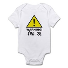 Warning I'm 3 Infant Bodysuit