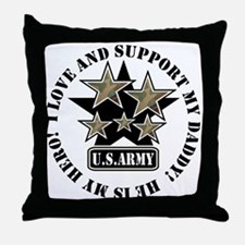 Dad Kids Army Love Support Throw Pillow