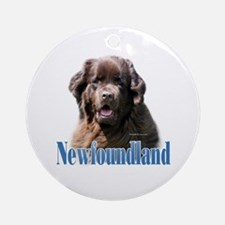 Newf(brown)Name Ornament (Round)