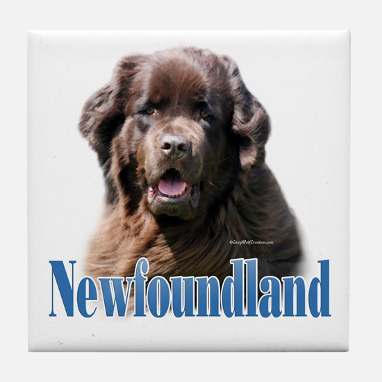 Newf(brown)Name Tile Coaster