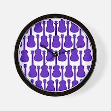 Purple Ukuleles Wall Clock