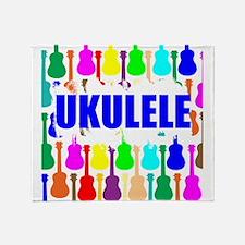 Rainbow Ukulele Throw Blanket