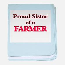 Proud Sister of a Farmer baby blanket