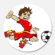 SOCCER BOY RED Round Car Magnet