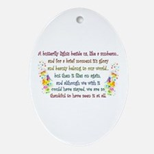 Butterfly Quote Oval Ornament