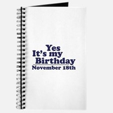 November 18th Birthday Journal