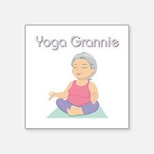 """YOGA GRANNIE Square Sticker 3"""" x 3"""""""