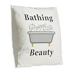 Bathing Beauty Burlap Throw Pillow