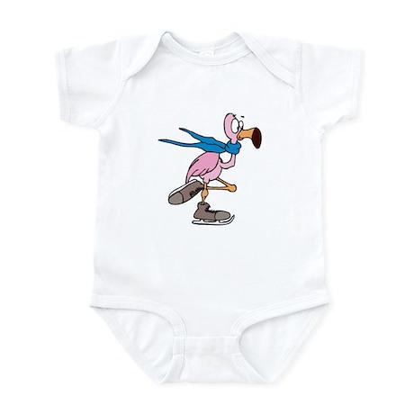 Silly Ice Skating Flamingo Infant Bodysuit