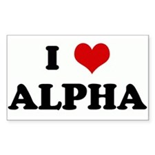 I Love ALPHA Rectangle Decal