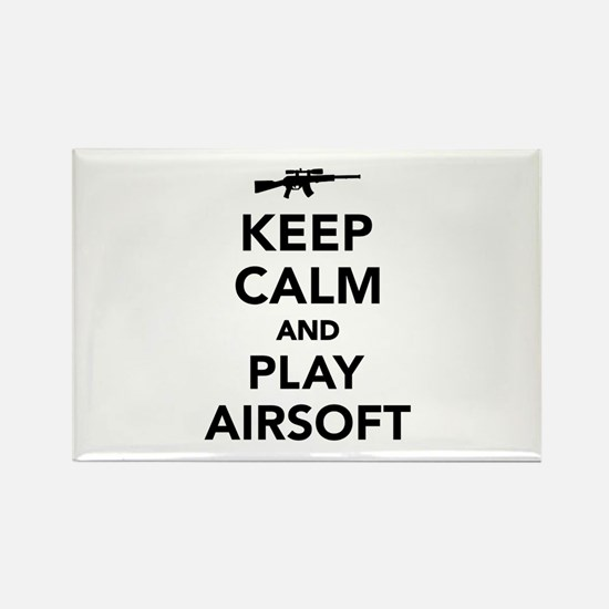 Keep calm and play Airsoft Rectangle Magnet