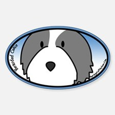 Anime Bearded Collie Oval Decal