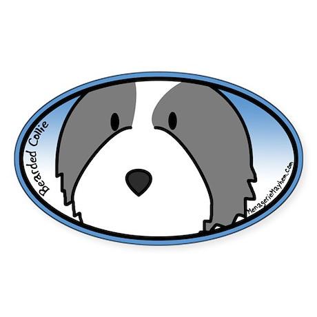 Anime Bearded Collie Oval Sticker