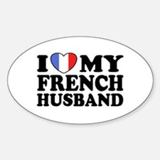 I Love My French husband Oval Decal