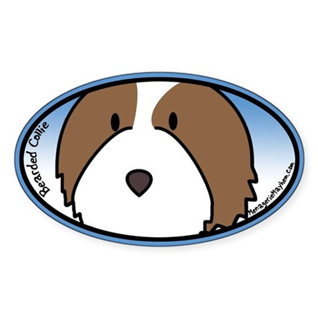 Anime Fawn Bearded Collie Oval Sticker