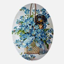 Dachshund and Forget-Me-Nots Oval Ornament