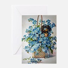 Dachshund and Forget-Me-Nots Greeting Cards
