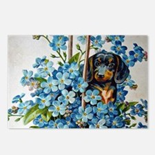 Dachshund and Forget-Me-Nots Postcards (Package of