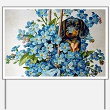 Dachshund and Forget-Me-Nots Yard Sign