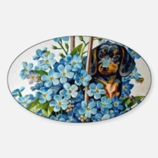 Dachshund and Forget-Me-Nots Decal