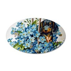 Dachshund and Forget-Me-Nots Wall Decal