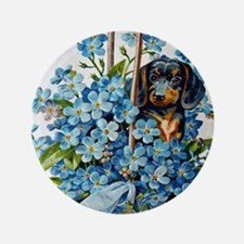 Dachshund and Forget-Me-Nots Button