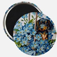 Dachshund and Forget-Me-Nots Magnets