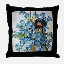 Dachshund and Forget-Me-Nots Throw Pillow