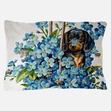 Dachshund and Forget-Me-Nots Pillow Case