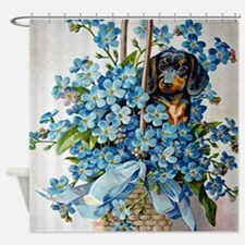 Dachshund and Forget-Me-Nots Shower Curtain