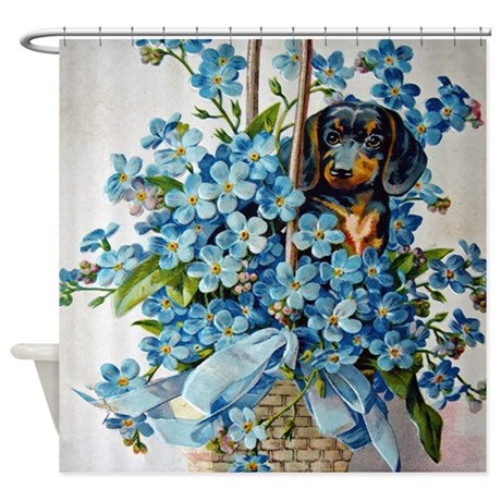 Dachshund And Forget Me Nots Shower Curtain
